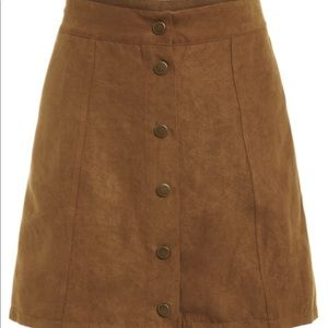 Faux suede buttoned front skirt